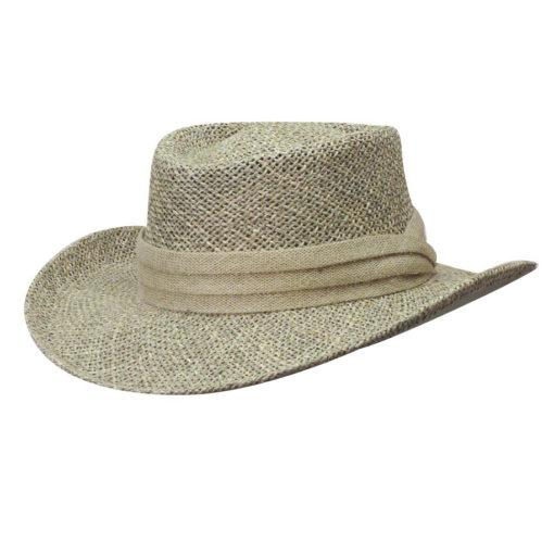 Khaki Twisted Seagrass Gambler Hat
