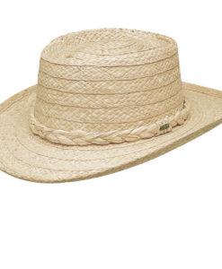 Organic Raffia Gambler Hat with Braided Trim