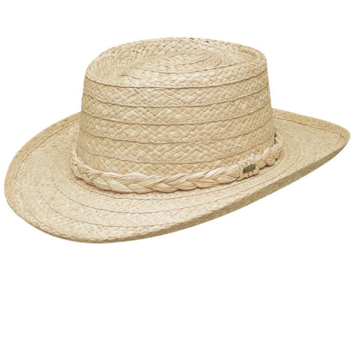 Organic Raffia Gambler Hat with Braided Trim