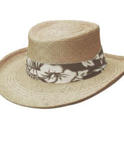 Khaki Palm Fiber Gambler Hat with Tropical Trim