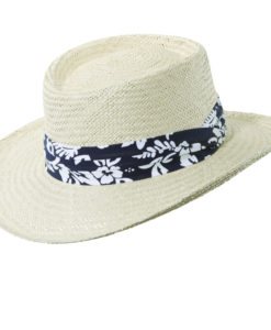 Navy Palm Fiber Gambler Hat with Tropical Trim