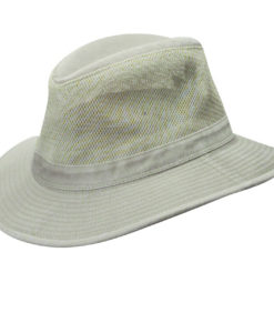 Khaki Garment Washed Twill Safari Hat with Mesh Sidewall (Small Brim)