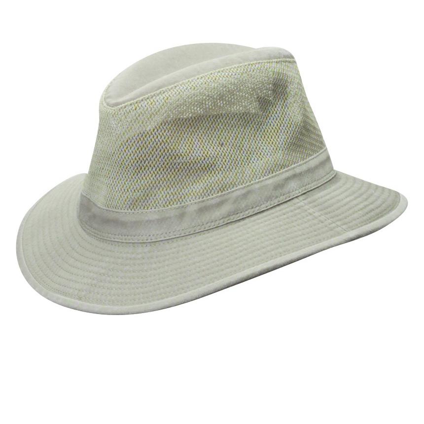 4647b4a2d27 Khaki Garment Washed Twill Safari Hat with Mesh Sidewall (Small Brim)