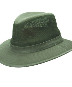 Olive Garment Washed Twill Safari Hat with Mesh Sidewall (Small Brim)