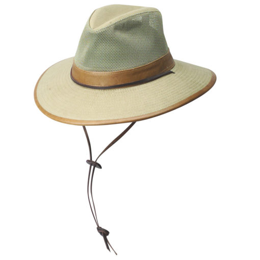 Camel Brushed Twill Safari Hat with Mesh Sidewall & Faux Leather Trim