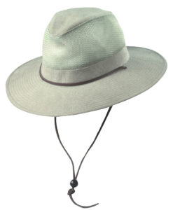 Khaki Brushed Twill Safari Hat with Mesh Sidewall