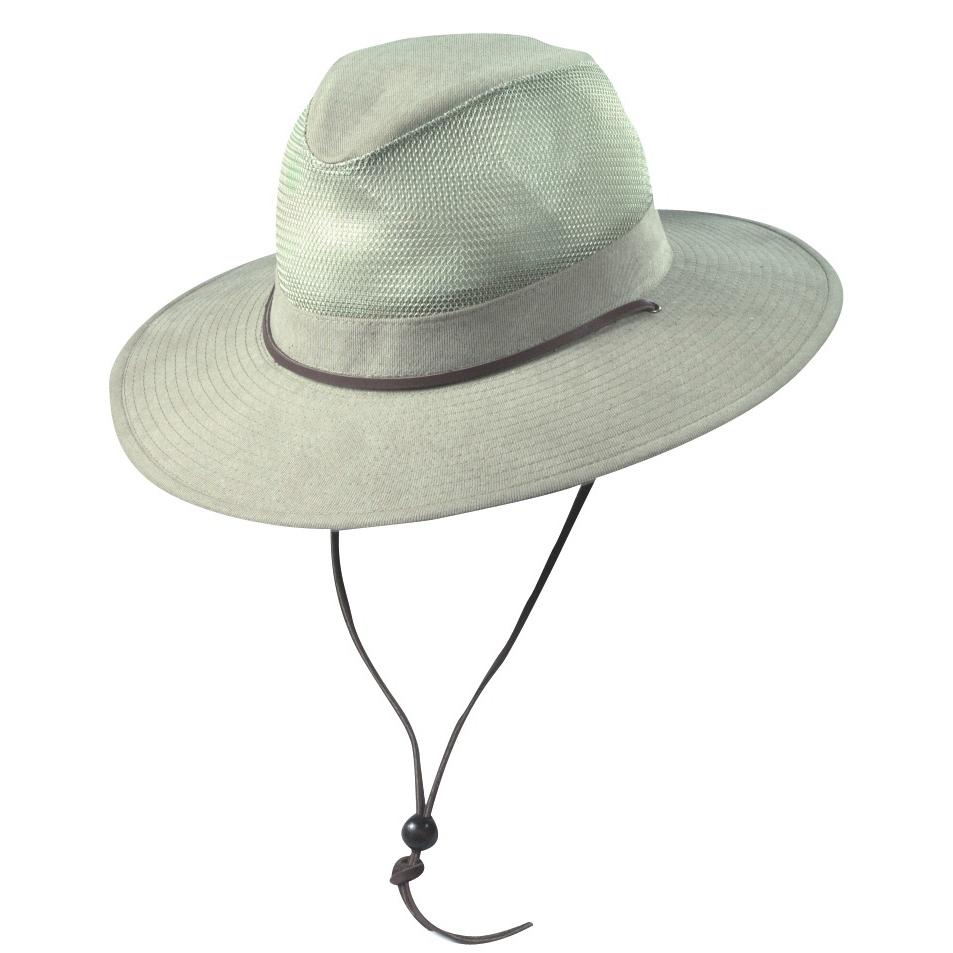 2b51db4c542 Khaki Brushed Twill Safari Hat with Mesh Sidewall