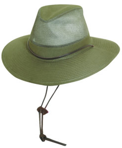 Olive Brushed Twill Safari Hat with Mesh Sidewall