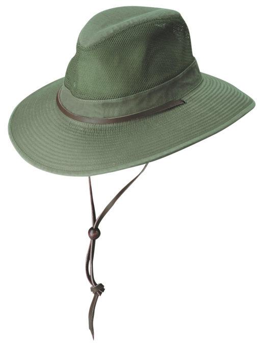 Olive Garment Washed Twill Safari Hat with Mesh Sidewall