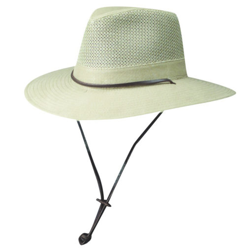 Camel Brushed Twill Safari Hat with Mesh Sidewall