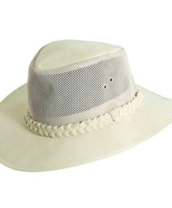 Natural Brushed Twill Soaker Hat with Mesh Sidewall