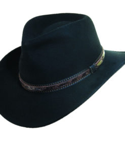 Wool Felt Outback Hat with Faux Leather Trim Black