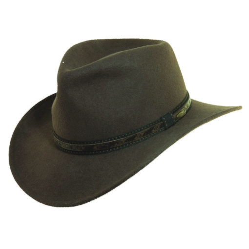 Wool Felt Outback Hat with Faux Leather Trim Khaki