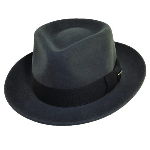 Crushable Wool Felt Fedora Grey