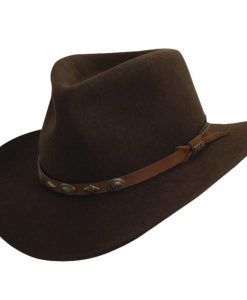 Wool Felt Outback with Conchos Trim Chocolate