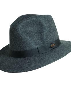 Wool Felt Safari Hat with Grosgrain Trim Charcoal