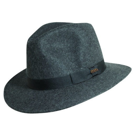 Wool Felt Safari Hat with Grosgrain Trim Charcoal