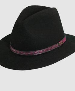Wool Felt Safari Hat with Leather Stitch Trim Black