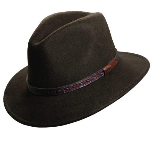 Wool Felt Safari Hat with Leather Stitch Trim Olive