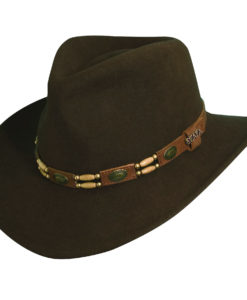 Wool Felt Outback Hat with Beads Olive