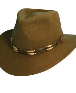 Wool Felt Outback Hat with Beads Pecan