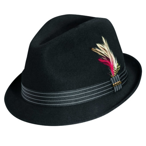 Wool Felt Fedora Hat with Feather Accent Black