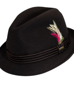 Wool Felt Fedora Hat with Feather Accent Chocolate