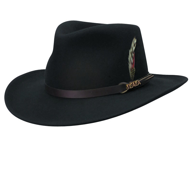 Wool Felt Outback Hat With Feather Accent Explorer Hats