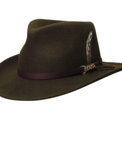Wool Felt Outback Hat with Feather Accent Olive
