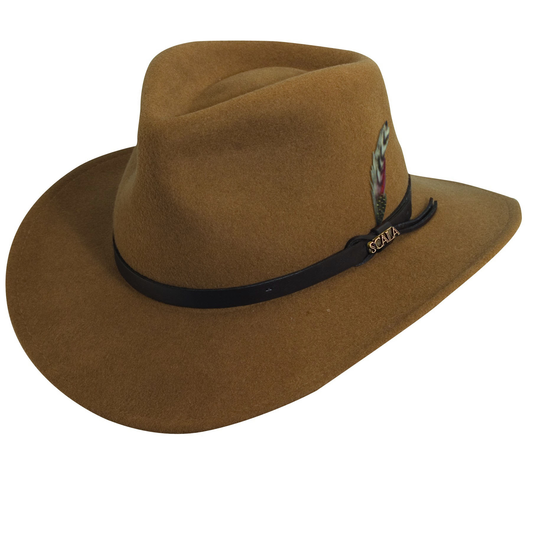 600272fdad0 ... low price wool felt outback hat with feather accent explorer hats b31ca  9ebd7
