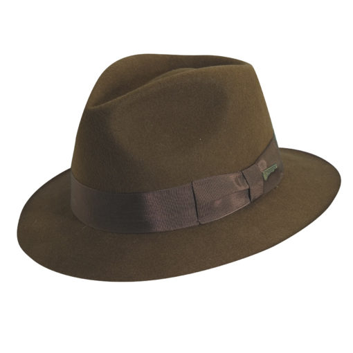 Indiana Jones Wool Felt Fedora Hat with Leather Sweatband