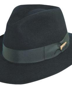 Black Indiana Jones Fur Felt Fedora Hat