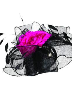 Sinamay Flower and Feather Fascinator Headband Black Fuchsia