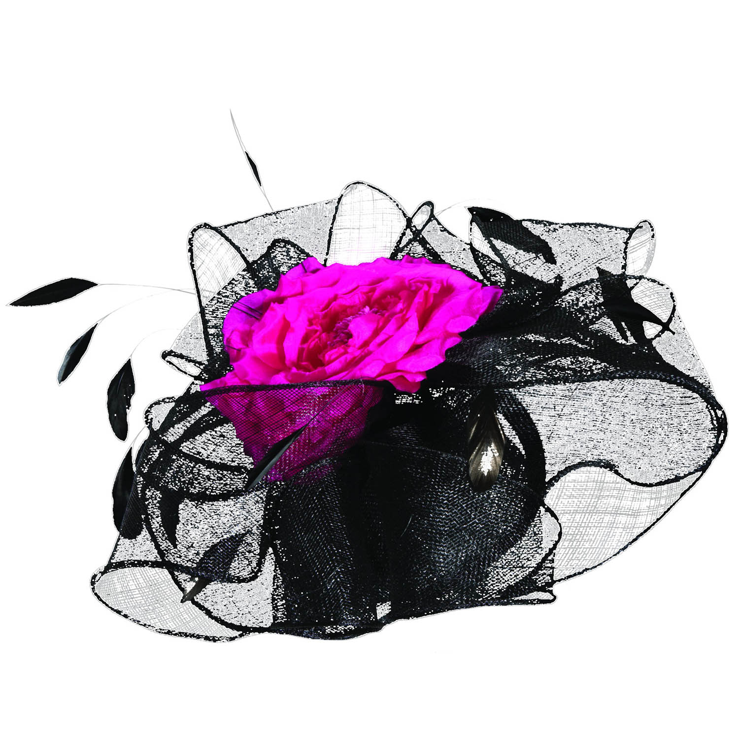 Sinamay Flower and Feather Fascinator Headband Black Fuchsia