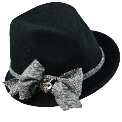 Wool Felt Fedora Hat with Herringbone Trim Black
