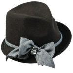 Wool Felt Fedora Hat with Herringbone Trim Brown
