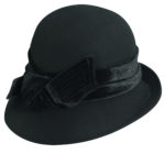 Wool Felt Cloche with Velvet Bow Black