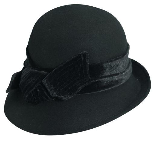 Wool Felt Cloche with Velvet Bow Black
