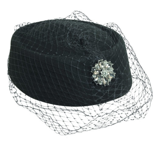 Wool Felt Black Pillbox Hat with Netting