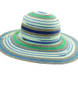Paper Braid Sun Hat Multi-Colors - Blue