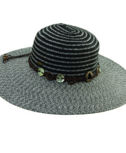 Ribbon-Paper Braid Sun Hat with Shell Trim Black