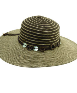 Ribbon-Paper Braid Sun Hat with Shell Trim Brown