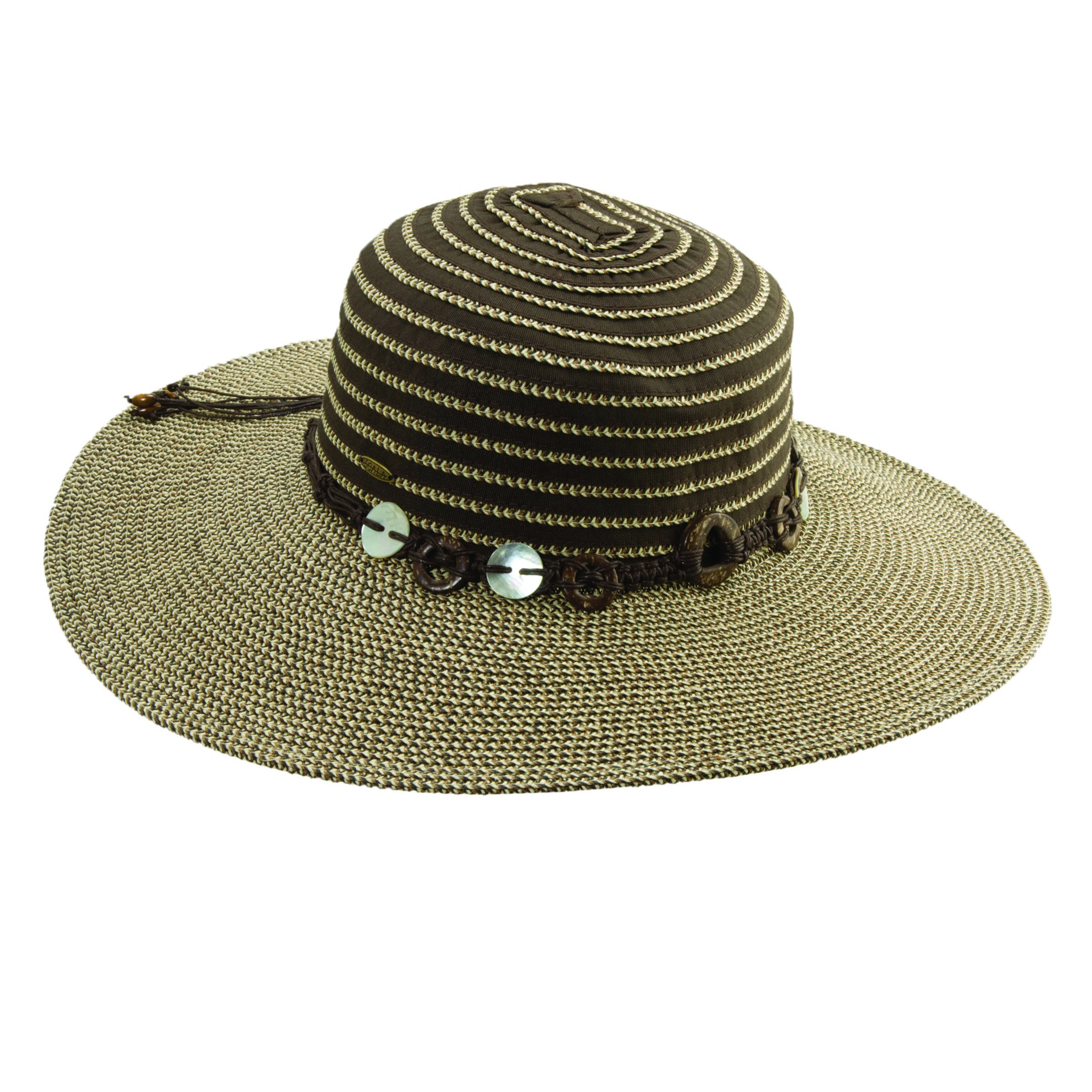 Ribbon-Paper Braid Sun Hat with Shell Trim Brown 746cda9c7d3