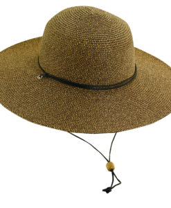 Paper Braid Sun Hat with Chin Cord Brown