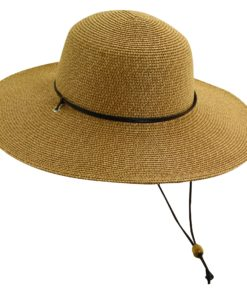 Paper Braid Sun Hat with Chin Cord Coffee