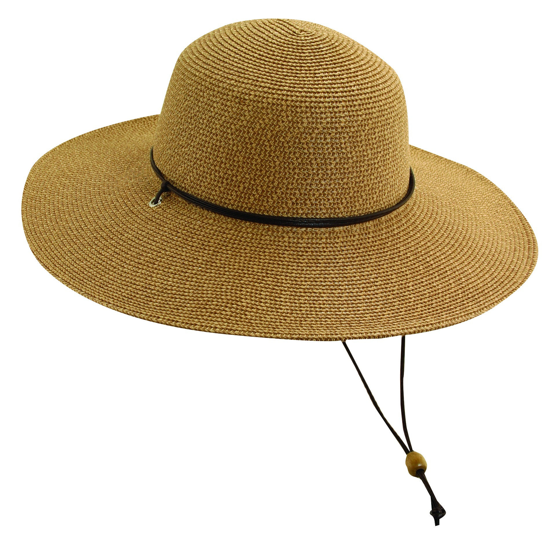 Paper Braid Sun Hat with Chin Cord Coffee 937206a3ad1