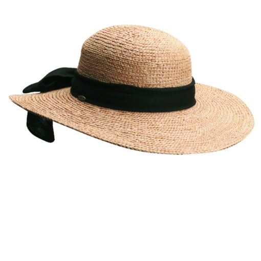 Organic Raffia Sun Hat with Large Bow - Tea