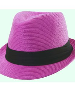 Paper Braid Fashion Fedora Fuchsia