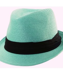 Paper Braid Fashion Fedora Turquoise