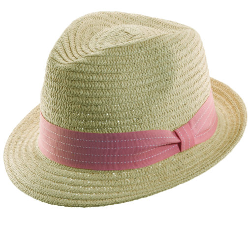 Paper Braid Fedora with Colored Ribbon Apricot
